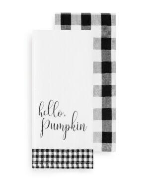 Elrene Hello Pumpkin and Check Kitchen Towel Set  - Black/white