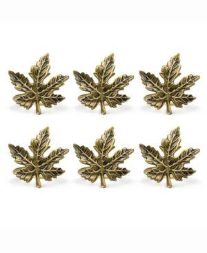 Design Imports Maple Leaf Napkin Ring, Set of 6  - Gold