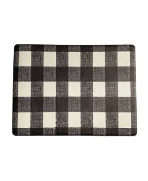 "Elrene Farmhouse Living Buffalo Check Rustic Comfort Anti Fatigue Kitchen Mat, 18""x30""  - Black/white"