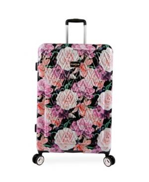 "Bebe Marie 29"" Hardside Check-In Spinner  - Black Floral Print"