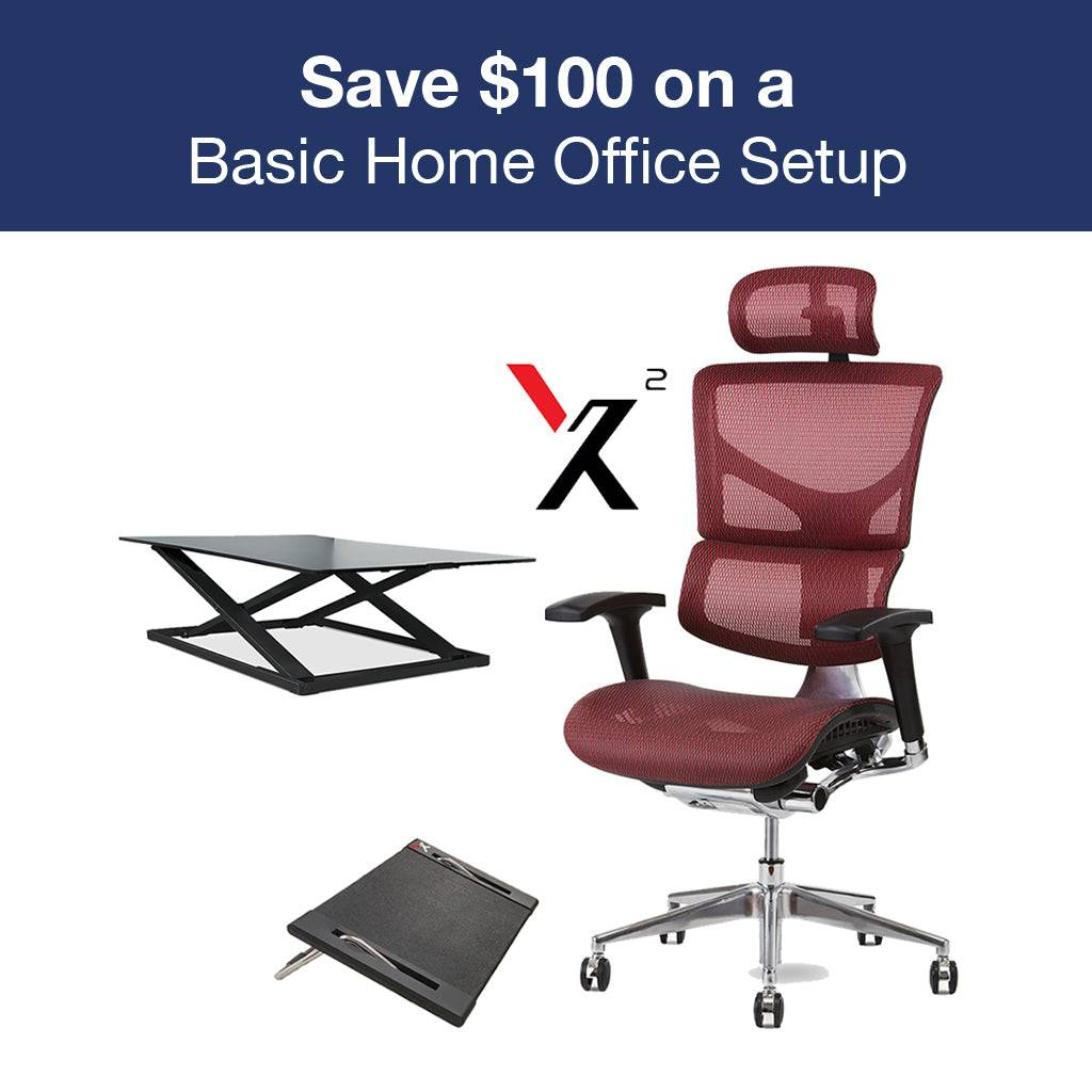 Relax The Back Basic Office Setup with X2 Executive Mesh Task Chair Grey K-Sport