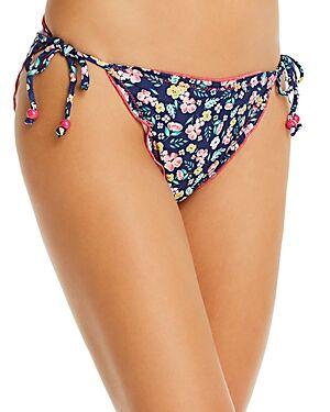 Shoshanna Moonlight Garden Print Lettuce String Bikini Bottom  - Female - Navy/Green/Pink - Size: Small