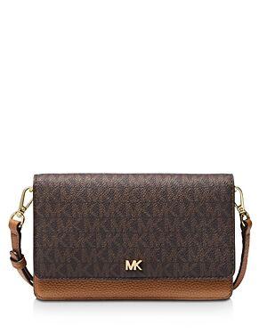 Michael Michael Kors Small Leather Phone Crossbody  - Female - Brown/Acorn/Gold