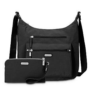 Baggallini Classic Day Trip Hobo Bag with Rfid Phone Wristlet  - Black