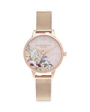 Olivia Burton Enchanted Garden Bracelet Watch, 30mm  - Female - Pink