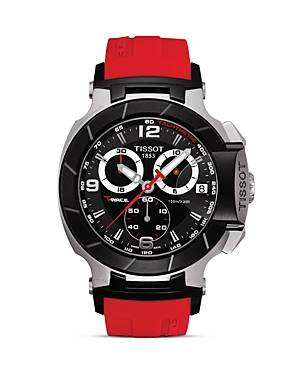 Tissot T-Race Men's Black Quartz Chronograph Red Rubber Watch, 50mm  - Male - Black/Red