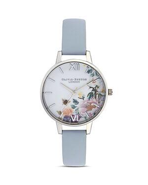 Olivia Burton Enchanted Garden Chalk Blue Watch, 34mm  - Female - White/Blue