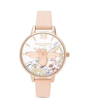 Olivia Burton Enchanted Garden Leather Strap Watch, 34mm  - Female - Multi/Pink