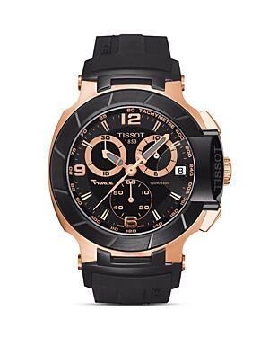 Tissot T-Race Men's Black Quartz Chronograph Rubber Watch, 50mm  - Male - No Color