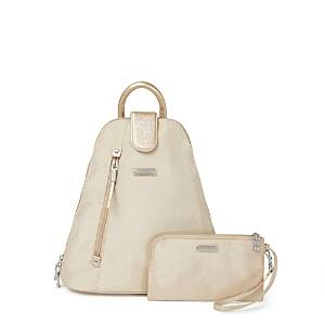 Baggallini New Classic Metro Backpack with Rfid Phone Wristlet  - Unisex - Champagne Shimmer