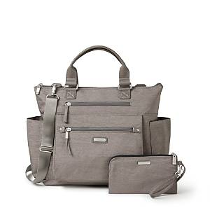 Baggallini 3-in-1 Convertible Backpack with Rfid Phone Wristlet  - Female - Sterling Shimmer