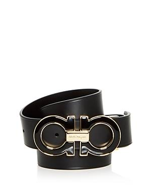 Salvatore Ferragamo Men's Enamel Double Gancini Buckle Reversible Leather Belt  - Male - Nero - Size: 36in/90cm