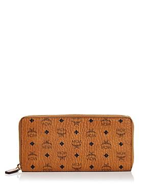 Mcm Zip Around Large Leather and Canvas Wallet  - Female - Cognac