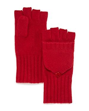 C by Bloomingdale's Ribbed Pop-Top Cashmere Gloves - 100% Exclusive  - Female - Cherry - Size: One Size