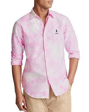 Ralph Lauren Polo Ralph Lauren Classic Fit Tie Dyed Oxford Shirt  - Male - Garden Pink / White - Size: Large