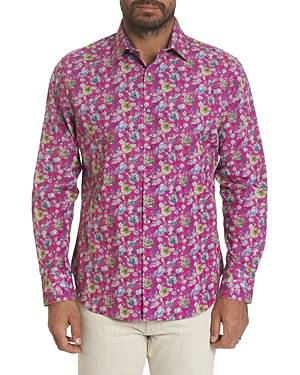 Robert Graham Bowmont Gardens Cotton Stretch Floral Print Classic Fit Button Up Shirt  - Male - Magenta - Size: Small
