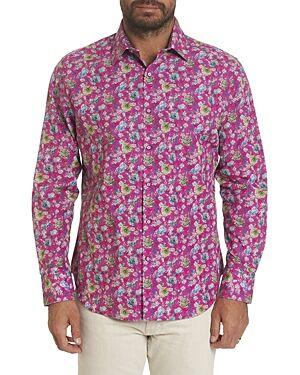 Robert Graham Bowmont Gardens Cotton Stretch Floral Print Classic Fit Button Up Shirt  - Male - Magenta - Size: Medium