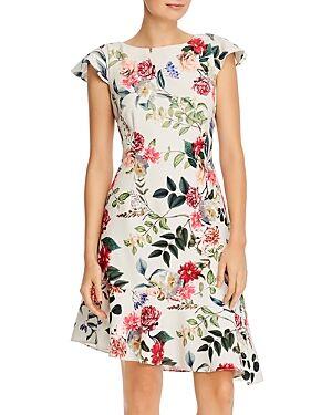 Adrianna Papell Parisian Garden Print Ruffled Dress  - Female - Ivory Multi - Size: 4
