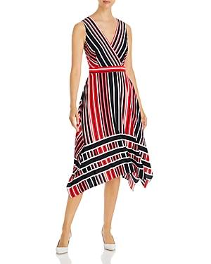 Karl Lagerfeld Paris Striped Midi Dress  - Female - Marine Com - Size: 10