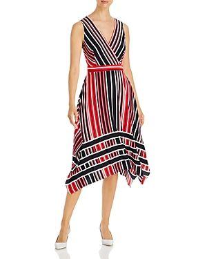 Karl Lagerfeld Paris Striped Midi Dress  - Female - Marine Com - Size: 4