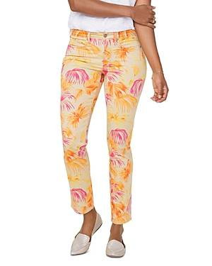 Nydj Petites Sheri Slim Ankle Jeans in Beach Garden Clementine  - Female - Beach Garden Clementine - Size: 6P