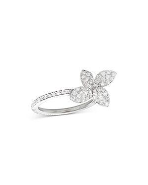 Pasquale Bruni 18K White Gold Petit Garden Diamond Flower Ring  - Female - White - Size: 6.5
