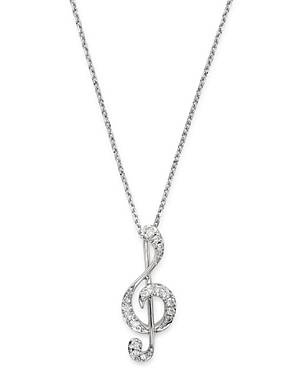 Bloomingdale's Diamond Music Note Pendant Necklace in 14K White Gold, 0.075 ct. t.w. - 100% Exclusive  - Female - White