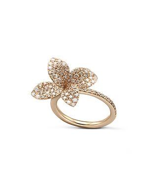 Pasquale Bruni 18K Rose Gold Secret Garden Pave Diamond Four Petal Flower Ring  - Female - White/Rose - Size: 7