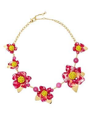 kate spade new york Botanical Garden Resin Flower Statement Necklace, 18  - Female - Pink/Gold