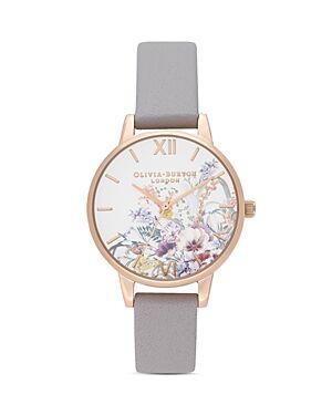Olivia Burton Enchanted Garden Gray Lilac Leather Strap Watch, 30mm  - Female - Multi/Gray