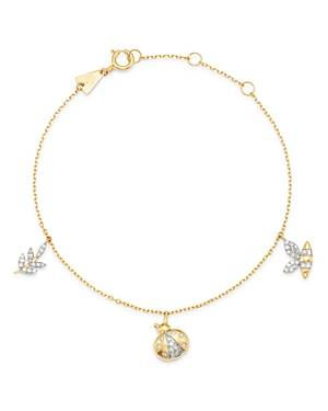 Adina Reyter 14K Yellow Gold Garden Diamond Pave Three Charm Bracelet - 100% Exclusive  - Female - White/Gold