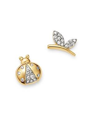 Adina Reyter 14K Yellow Gold Garden Diamond Pave Lady Bug & Butterfly Mismatch Stud Earrings - 100% Exclusive  - Female - White/Gold