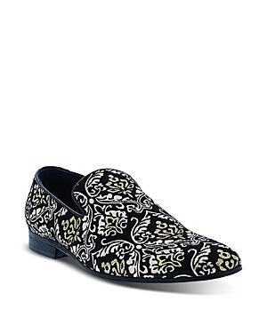Robert Graham Men's Gibbons Damask Embroidered Slip On Dress Shoes  - Male - Black - Size: 9