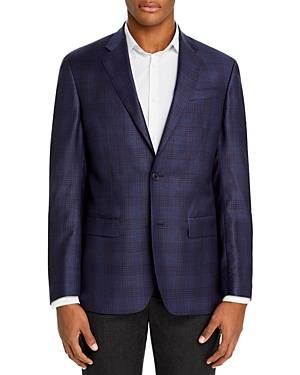 The Men's Store at Bloomingdale's Plaid Regular Fit Sport Coat - 100% Exclusive  - Male - Navy - Size: 46L