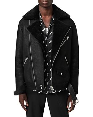 Allsaints Terro Shearling Bike Jacket  - Male - Black - Size: Extra Small