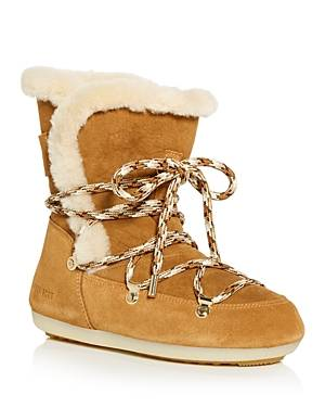 Moon Boot Women's Dark Side Waterproof Shearling Cold Weather Boots  - Female - Whisky - Size: 6 US / 36 EU