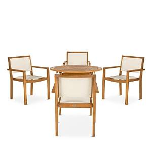 Safavieh Chante Round Table 5-Piece Indoor/Outdoor Dining Set  - Natural