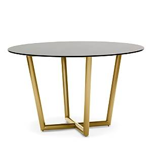 Mitchell Gold Bob Williams Modern Round 48 Dining Table  - Brass/Smoked Glass