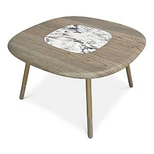 """Huppe Koval 54"""" Dining Table With Natural Stone Insert  - White Cherokee Marble"""