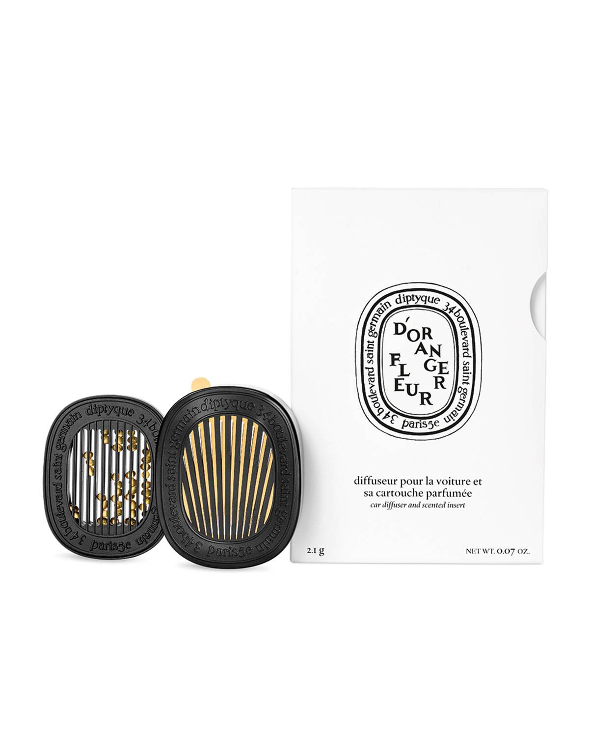 Diptyque Car Diffuser with Orange Blossom Insert