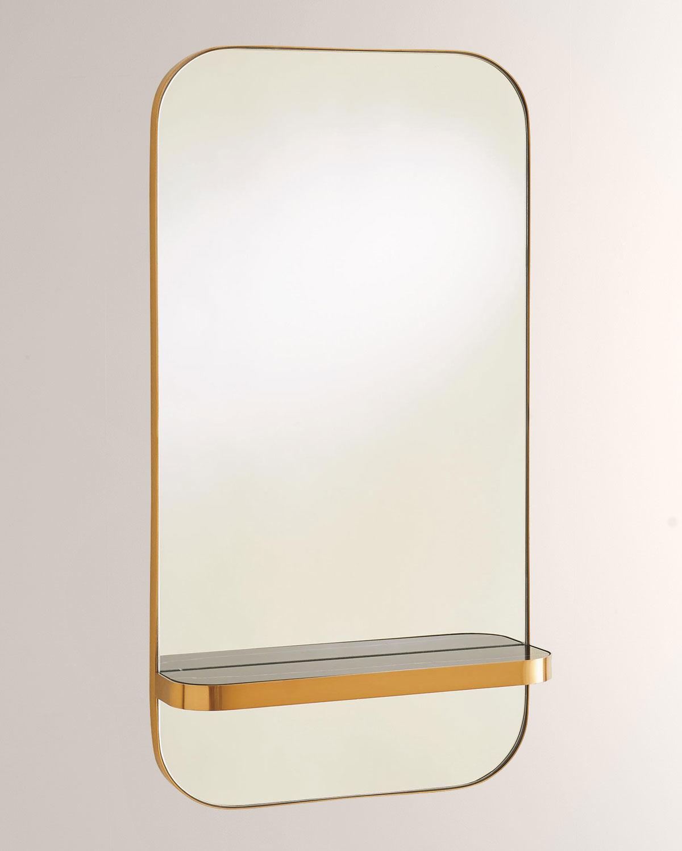 Global Views Train Car Mirror with Gold Marble Shelf