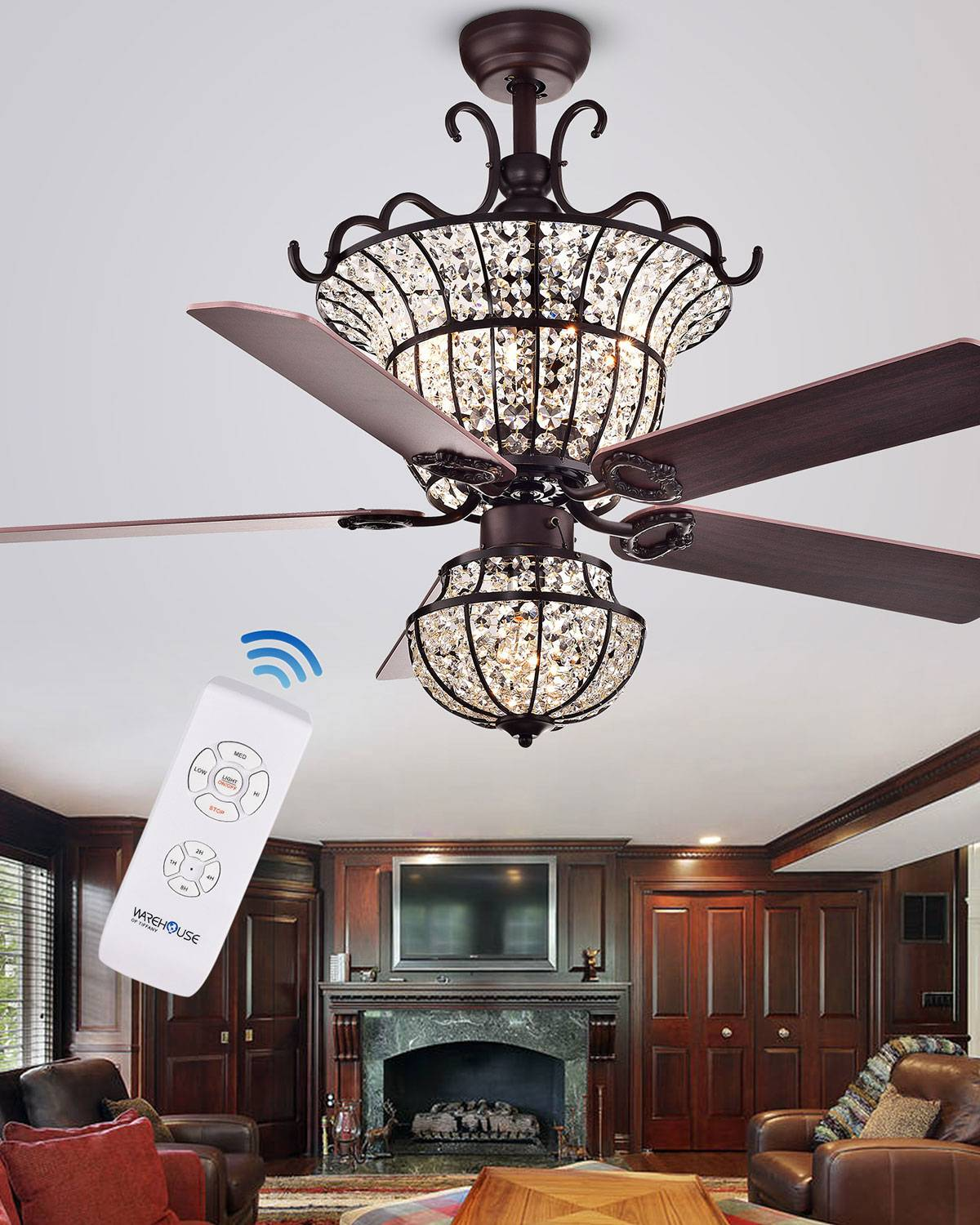 Home Accessories Bronzed Crystal Bowl Shade Chandelier Ceiling Fan