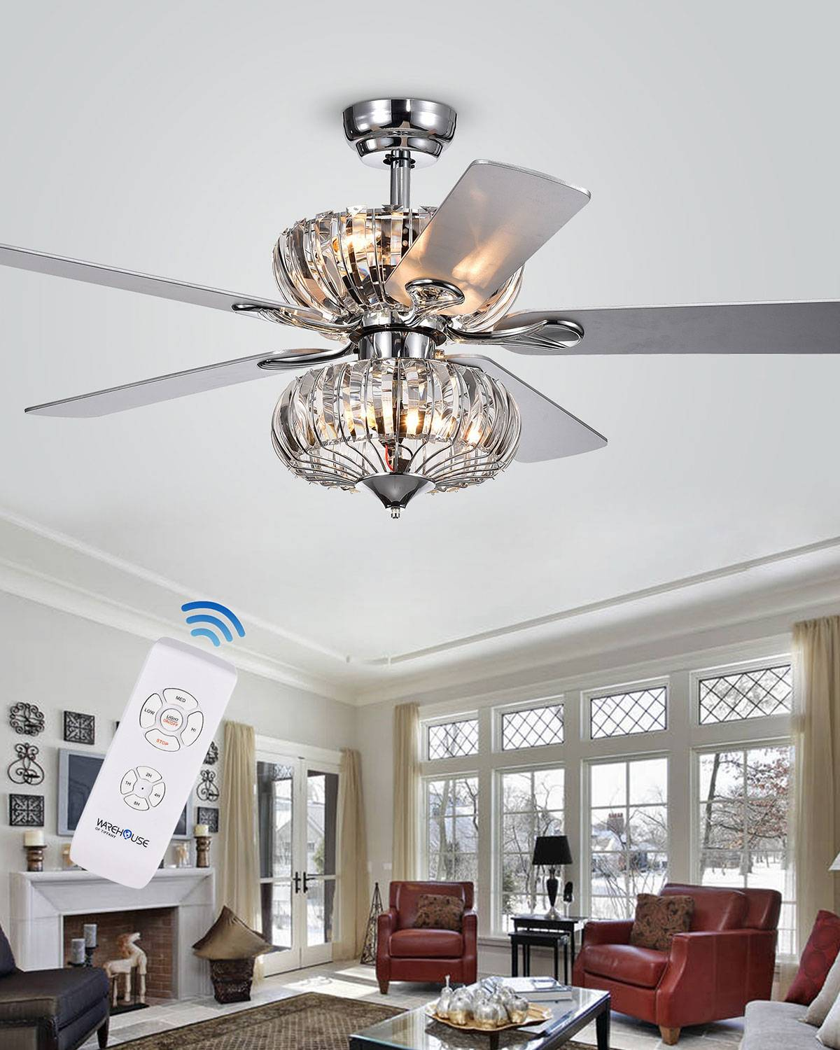 Home Accessories Stacked Curved Crystal Baguette Chandelier Ceiling Fan