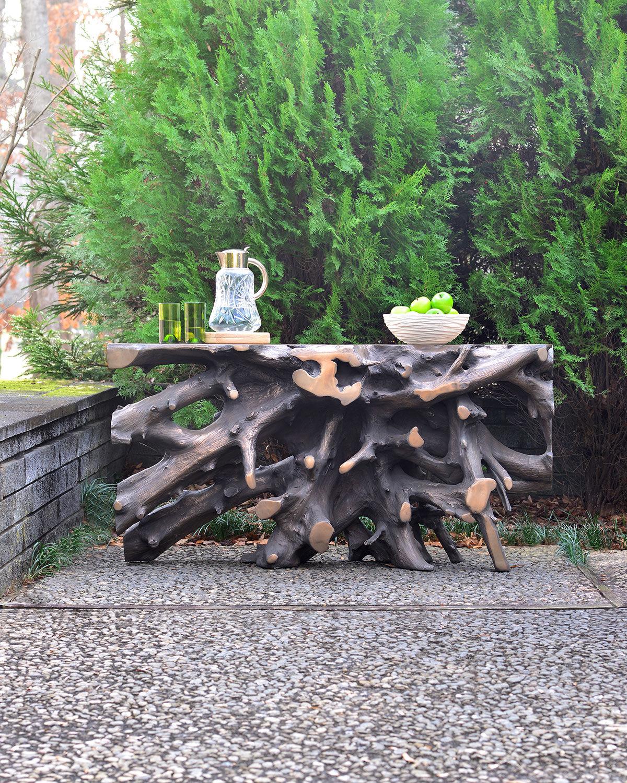 Philips Bronze Cast Root Teak Outdoor Console Table