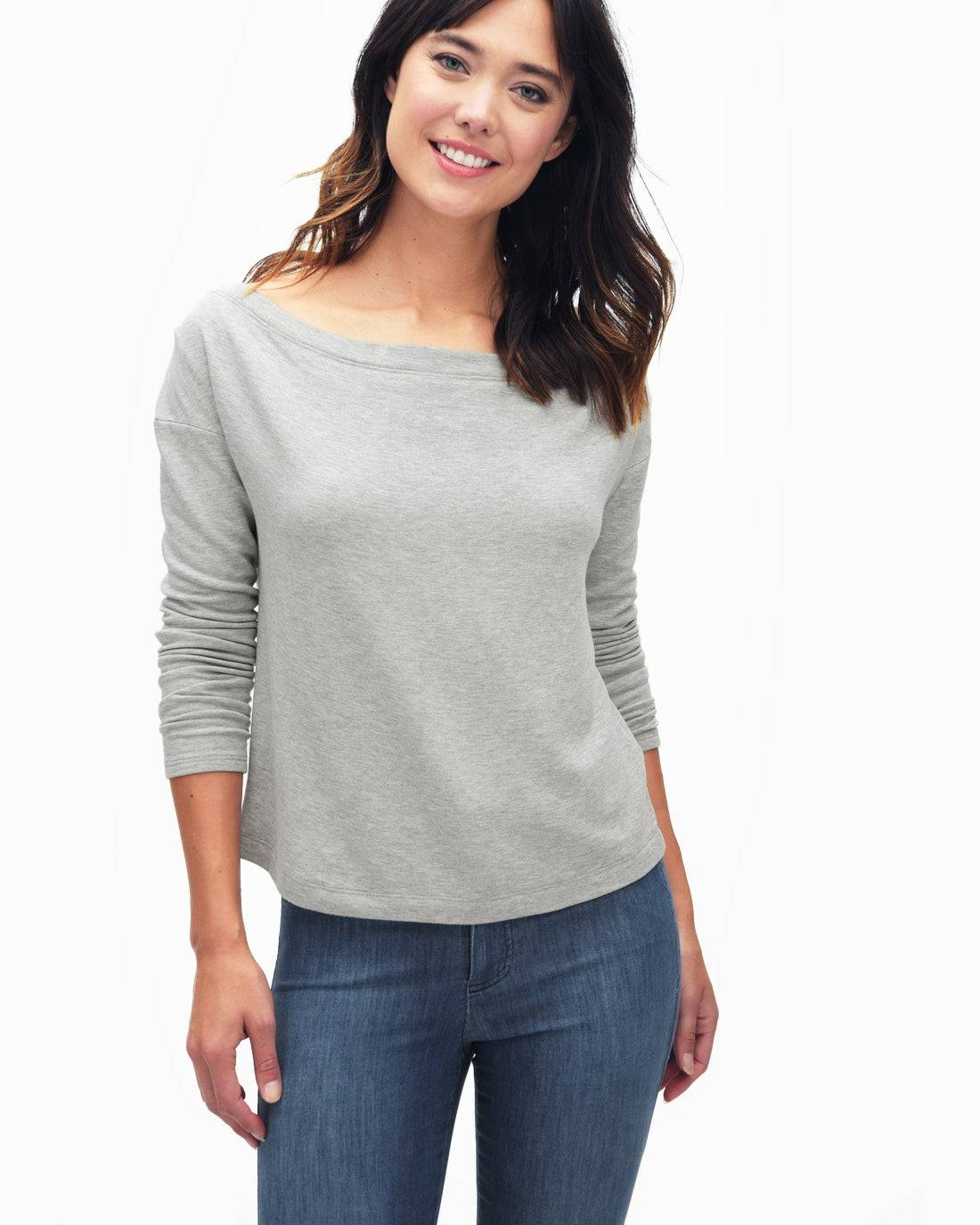 Splendid Supersoft Brushed French Terry Slouchy Boatneck Top  - Heather Grey - Female - Size: Large