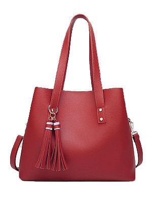 Berrylook Red Decrotive Tassel Chic Women Shoulder Bags online shop, clothes shopping near me, Plain Shoulder Bags,