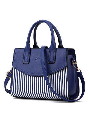 Berrylook Striped Patchwork Pu Shoulder Bag clothes shopping near me, fashion store, Stripes Shoulder Bags,