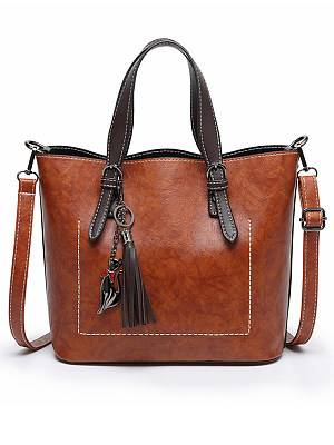 Berrylook Oil Wax Leather Tassel Shoulder Bag clothing stores, stores and shops, Solid Shoulder Bags,
