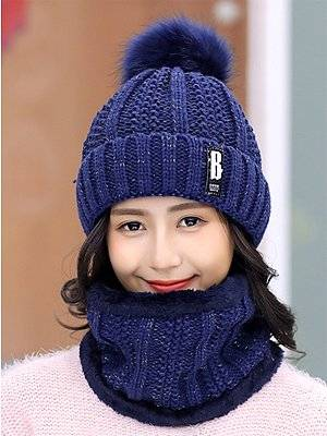 Berrylook Lady Korea Style Fashion Warm Two Piece Hats For Winter clothes shopping near me, online stores,