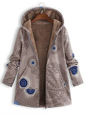 Berrylook Hooded Abstract Print Coat online stores, clothes shopping near me, womens winter coats, winter jackets for women